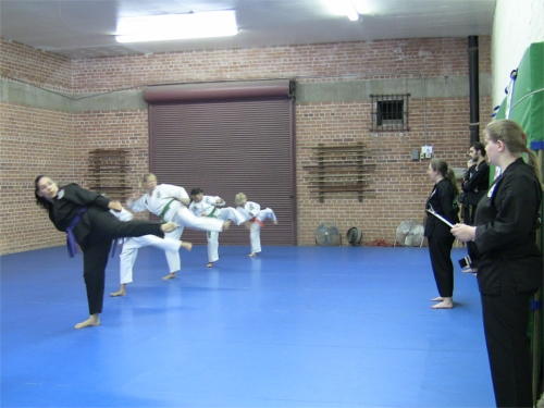 Students demonstrating their roundhouse kicks in front of judges