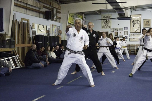 Master Rangel, Robert Fleming, Ann Moser and other students demonstrate punching in a horse-riding stance